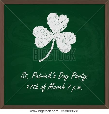 Vector Illustration Of Chalk Board For St Patricks Day Party