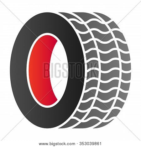 Tire Flat Icon. Automobile Wheel Vector Illustration Isolated On White. Car Tyre Gradient Style Desi