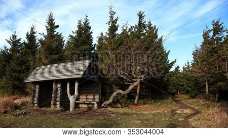 Tourist Shed On Marked Hiking Route In The Forest, Jeseniky, Czech Republic