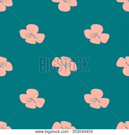 Vector Tropical Flowers Patten. Seamless Design With Simple Botanical Elements. Aloha Hawaii Vector
