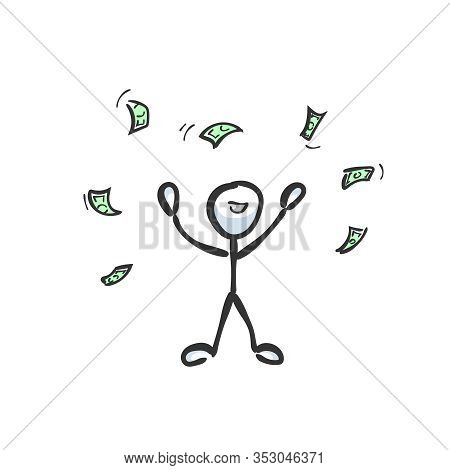 Rich Man Throwing Money. Wealthy Person. Success. Hand Drawn. Stickman Cartoon. Doodle Sketch, Vecto