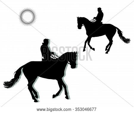 Rider On A Horse Galloping At A Reduced Gallop, Black Isolated Silhouette On A White Background And