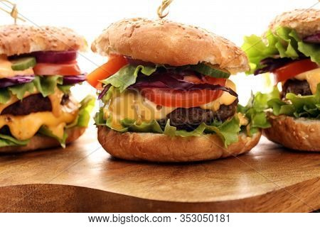 Tasty Fresh Meat Burgers With Salad And Cheese. Homemade Angus Burger.