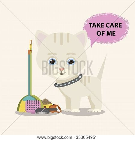 Cat With Animal Care Facilities Isolated On A White Background.cute Kitty Character Isolated On A Wh