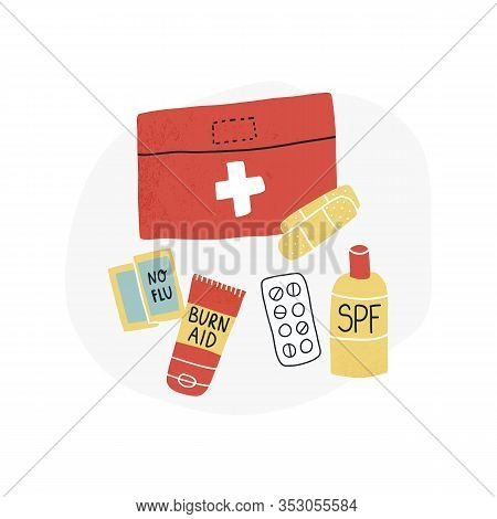 Travel Packing First Aid Set Vector Set - Pills, Spf Sunscreen And Burn Aid Lotion, No Flu Meds, And