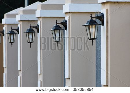 Residential Home Perimeter Wall With Lanterns, Mossel Bay, South Africa