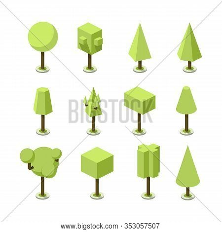 Tree In Isometric Green Color Icon Set With Shadow And Brunch. Illustration Of A Tree Plant Of A Dif