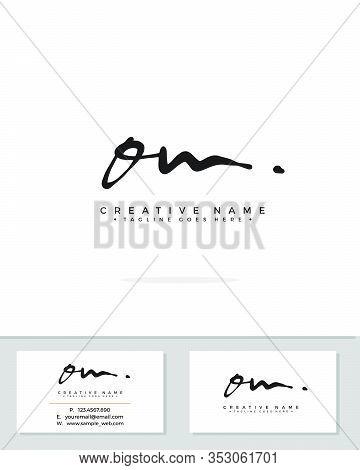 O M Om Initial Logo Signature Vector. Handwriting Concept Logo.