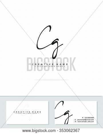C G Cg Initial Logo Signature Vector. Handwriting Concept Logo.