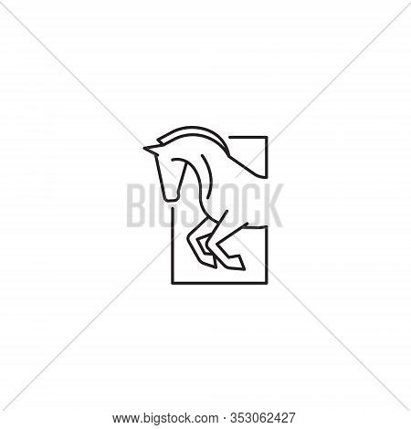 Strong Fast Equine Race Horse Running Jumping Line Symbol Logo