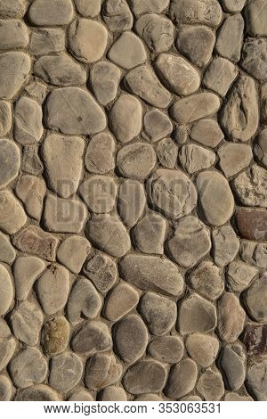 Abstract Nature Pebbles. Natural Pebble Stone Background.  Background Of Natural Pebbles Bonded With