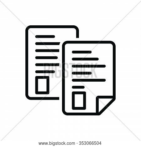 Black Line Icon For Page Note Pitch Banknote Text Concept Document Message Paper