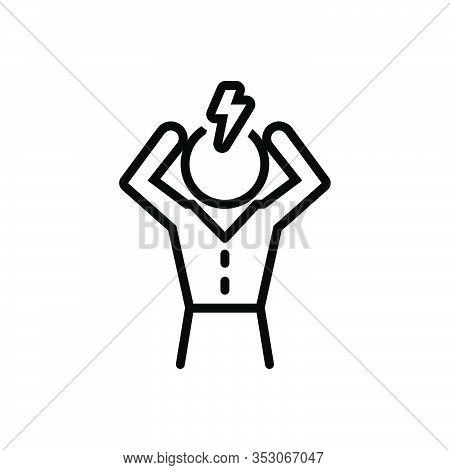 Black Line Icon For Pain Headache Suffering Anguish Distress Torment Strain Irritation Trouble