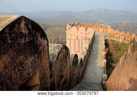 Stone Passageway On Top At Jaigarh Palace In Jaipur, Rajasthan, India, Asia