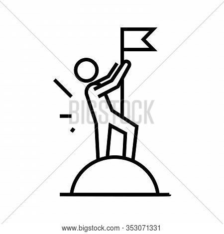 Glory Flag Line Icon, Concept Sign, Outline Vector Illustration, Linear Symbol.