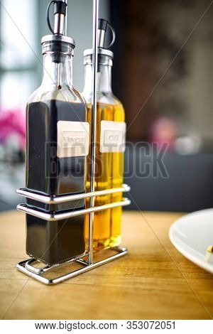 olive oil and balsamic vinegar in the cafe
