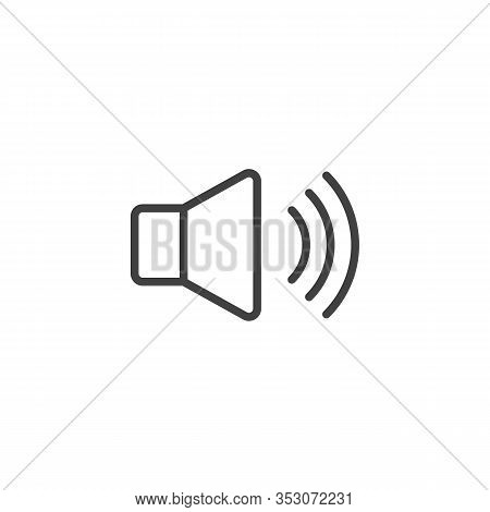 Sound Speaker Line Icon. Voice Volume Linear Style Sign For Mobile Concept And Web Design. Volume Up