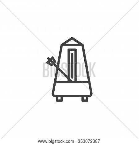 Mechanical Metronome Line Icon. Linear Style Sign For Mobile Concept And Web Design. Metronome Outli