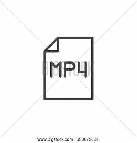Mp4 Media File Line Icon. Linear Style Sign For Mobile Concept And Web Design. Mp4 File Folder Outli