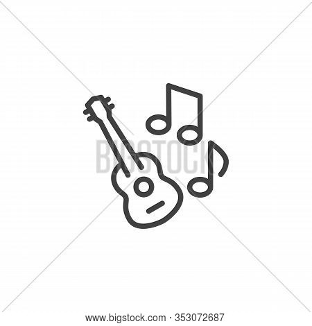 Guitar Music Note Line Icon. Linear Style Sign For Mobile Concept And Web Design. Acoustic Guitar Mu