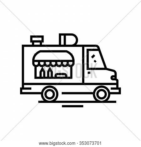 Food Trucks Line Icon, Concept Sign, Outline Vector Illustration, Linear Symbol.
