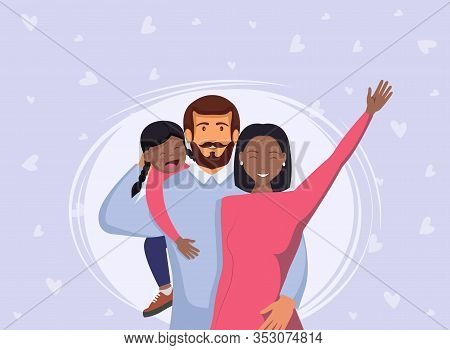 International family. African american woman and black daughter. Happy young family. Dad, mom, and son together. Vector illustration in cartoon style. Happy International Mothers Day. Mothers Day. Mothers Day background. Mother\\\'s  Day poster. Mothers D