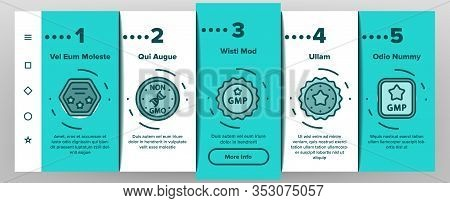Gmp Certified Mark Onboarding Icons Set Vector. Gmp Good Manufacturing Practice In Form Shield And M