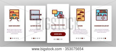 Shelf Room Furniture Onboarding Icons Set Vector. Shelf With Books And Drink, Documents And Domestic