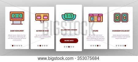 Scoreboard Game Tool Onboarding Icons Set Vector. Electronic And Write Scoreboard, Paper List And Bo