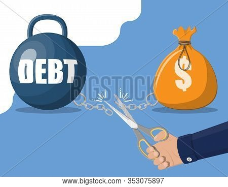 Businessman Hand With Scissors Cutting Debt Weight Chain. Big Heavy Debt Weight With Shackles And Mo
