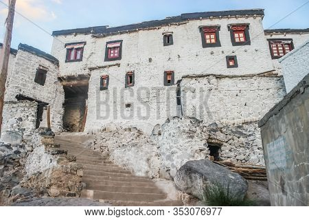 Thiksey, Ladakh, India- Dated:30 July, 2019- Stairs Leading To Individual Set Of Buildings At Thikse