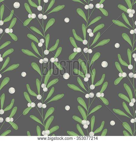 Vector Seamless Pattern With Vertical Mistletoe Branches On Dark Gray Background; White Mistletoe Fo
