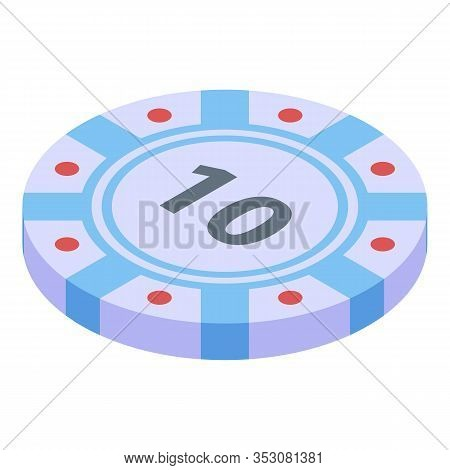 Vegas Casino Chip Icon. Isometric Of Vegas Casino Chip Vector Icon For Web Design Isolated On White