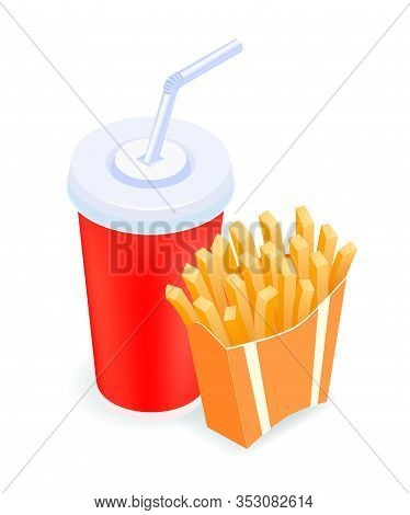 Isometric Vector Illustration French Fries And Cola. Fast Food Concept