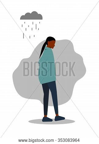 Sad African-american Woman. A Young Man Goes Sadly Looking Down. Rain, Clouds, A Sad Look. Vector Il