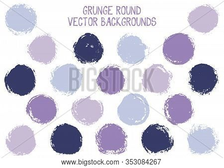 Vector Grunge Circles. Dry Post Stamp Texture Circle Scratched Label Backgrounds. Circular Icon, Cha