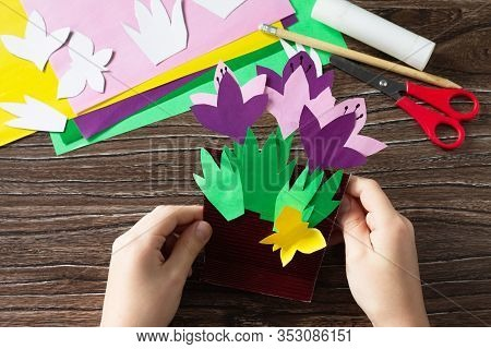 Greeting Card For Mother's Day With Spring Flowers Crocuses. Handmade Paper Craft Ideas. The Project