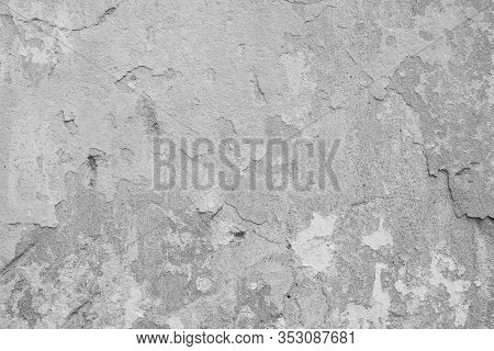 Stucco Grey Wall Background Or Texture Stucco. Abstract Background With Empty Space For Your Design.