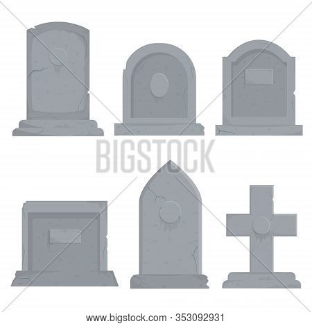 Collection Of Different Various Gravestones Vector Graphic