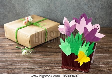 Greeting Card For Mother's Day With Spring Flowers Crocuses. Copy Space. Handmade Paper Craft Ideas.