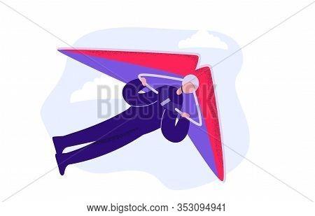 Cartoon Male Enjoying Extreme Sport Hang Gliding
