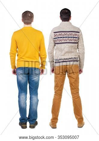 Back view two man in sweater. Rear view people collection. backside view of person. Isolated over white background. Guys looking forward
