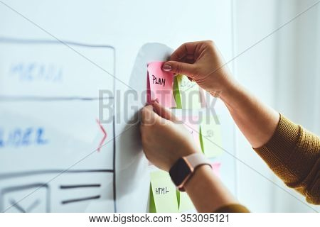 Close Up Of Woman Web Designer Planning Website Ux App Development On Whiteboard