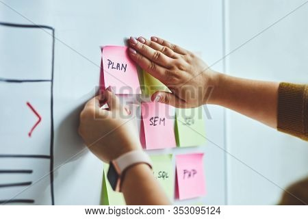 Woman Web Designer Planning Website Ux App Development On Whiteboard
