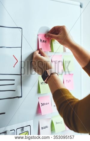 Female Web Designer Planning Website Ux App Development On Whiteboard
