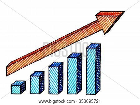 Freehand Ink Pen Drawing Of Isometric Bar Chart With Positive Growth Trend Arrow. Business Metaphor