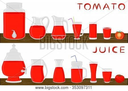 Illustration On Theme Big Kit Different Types Glassware, Tomato Jugs Various Size. Glassware Consist