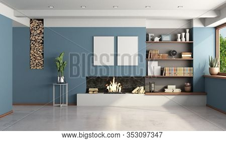 Blue Living Room With Modern Fireplace Without Furniture - 3d Rendering