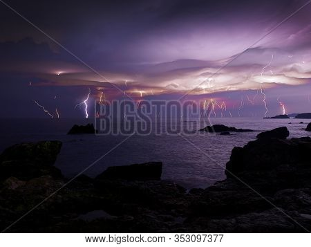 lightnings and storm on sea - bad weather