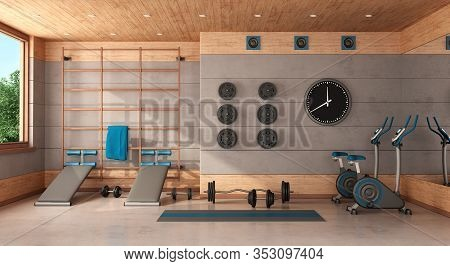 Home Gym With Swedish Wall,bench,bicycle And Weights - 3d Rendering